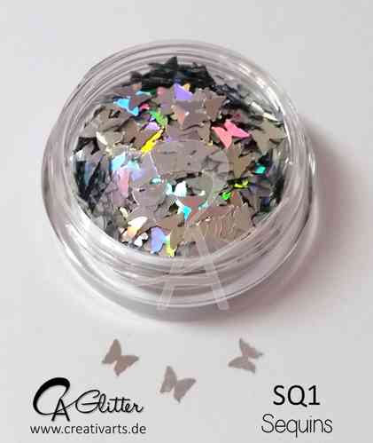 sequins BUTTERFLY silver